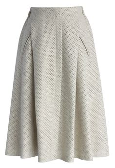 Eyelet Faux Suede Midi Skirt in Off-white - New Arrivals - Retro, Indie and Unique Fashion