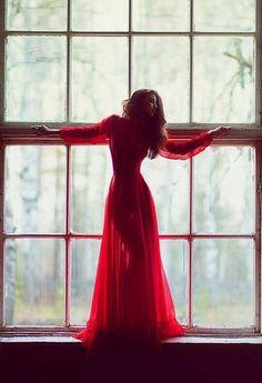 Red dress photoshoot