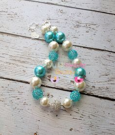 Aqua/turquoise and Ivory chunky necklace by MyLilSweetieBoutique, $25.00