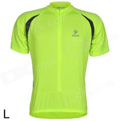ARSUXEO AR608S Quick-drying Cycling Polyester Jersey for Men - Fluorescent Green   Black (L) Price: $17.70