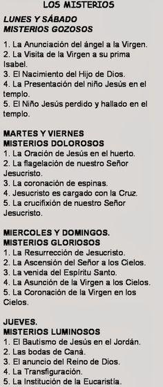 LOS MISTERIOS DEL SANTO ROSARIO CADA DÍA VAMOS MEDITANDO LA VIDA DE JESÚS Y DE MARÍA