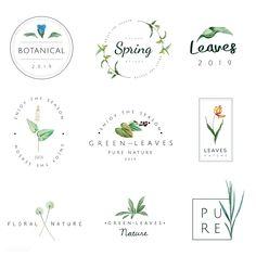 Set of nature and plant logo vectors Free Vector Badge Design, Logo Design Template, Vector Design, Ideas Para Logos, Logo Ideas, Spring Logo, Logo Fleur, Plant Logos, Nail Logo