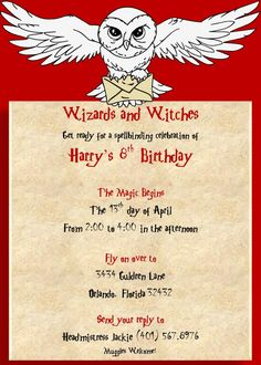 Harry Potter Birthday Invitation Harry Potter Party Supplies