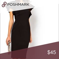 ASOS pencil dress with ruffle sleeves Beautiful black dress only worn maybe five times. ASOS Dresses Midi