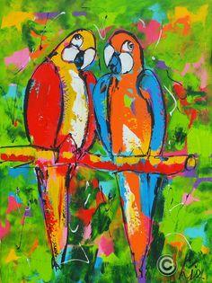 Dit is een: Acrylverf op doek, titel: 'Papegaaitje leef je nog' kunstwerk vervaardigd door: Liz
