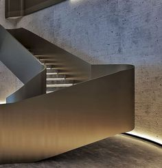 29 Basement Stairs Ideas - Home Decorating Inspiration Concrete Staircase, Metal Stairs, Stair Handrail, Modern Staircase, Staircase Design, Stair Design, Staircase Ideas, Grand Staircase, Railings