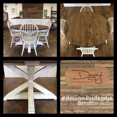 Kitchen Farm House Set. Paint Chairs White And De Stress And Paint Legs Of  The Table Light Blue. | Dining Room | Pinterest | Table And Chairs, ...