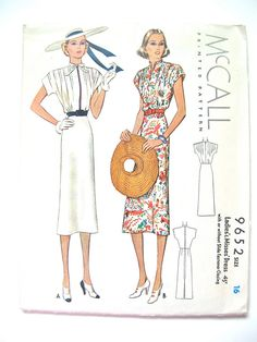 Vintage 1930s sewing pattern by McCall 9652.  Bust 34 by Fancywork, $42.00