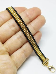 Luxury black & gold loomed bracelet, Elegant bead woven bracelet with gold p. - Luxury black & gold loomed bracelet, Elegant bead woven bracelet with gold plated finish – - Bead Loom Patterns, Jewelry Patterns, Bracelet Patterns, Beading Patterns, Beading Ideas, Bracelet Designs, Necklace Designs, Jewelry Ideas, Necklace Ideas