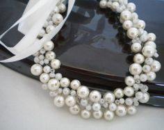 Wedding Pearl Necklace ,Brides Pearl Jewelry,Bridesmaids Gifts, Bridal Pearl Necklace,Bridal Bib Necklace,Wedding Jewellery, Bridal Jewelry