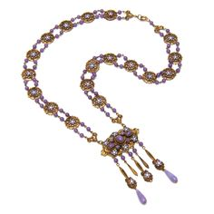 Czech Ornate Purple Necklace