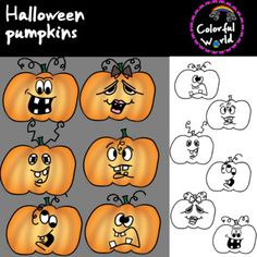 This halloween set includes 12 high resolution, png format, images, 6 color and 6 b&w This set can be purchased in a bundle at a discounted price here. Pumpkin Colors, Halloween Pumpkins, Snoopy, Clip Art, Character, Halloween Gourds, Lettering, Pictures