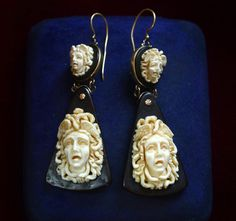 1870s Large Carved Ivory And Tortoiseshell Medusa Earrings 14K