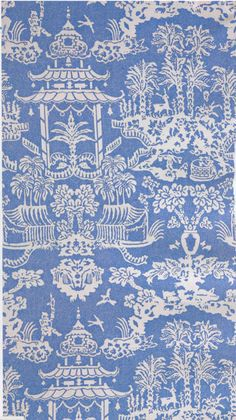 Blue and white: Brunschwig & Fils Lhasa wallpaper