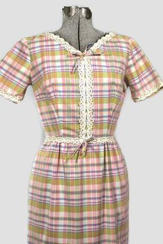 Vintage Plaid Spring Pastel Cotton Sheath Dress     #1960SummerDress #1960sSheathDress #MadeInUsa #CottonDress #1960sShift #1960sVintageHeritage #1960sDress #1960sDayDress #1960sCottonDress #1960sVintageDress