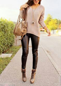 Black Leather pants with rose sweater