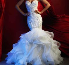 Wedding Gown Allure Couture and lovely, this strapless column gown is adorned with a sweep of ruffles at the hem._ - Allure Couture and lovely, this strapless column gown is adorned with a sweep of ruffles at the hem. Wedding Dress Cathedral Train, Wedding Dress Train, Lace Mermaid Wedding Dress, Perfect Wedding Dress, Mermaid Dresses, Gown Wedding, Wedding Ceremony, Mermaid Gown, Tulle Wedding