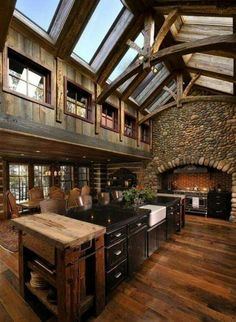 Renew your Ordinary Kitchen with These Inspiring Rustic Country Kitchen Ideas – Rustic House Rustic Country Kitchens, Rustic Kitchen Design, Rustic Cottage, Wooden Kitchen, Rustic Houses, Kitchen Modern, Rustic Farmhouse, Rustic House Design, Loft Kitchen