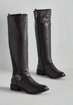 By the time your pals figure out they need sleek black boots as a chilly weather staple, you'll already have christened these black, knee-high boots into your wardrobe! A smooth vegan faux-leather pair with buckled ankle straps and elasticized panels up the backs, these simple kicks are must-haves.