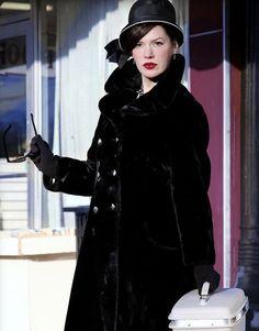 Black 1950s faux fur coat. Tag says: A BORG Fabri, BORGANZIA styled by Sportowne