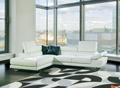 8018 Modern White Bonded Leather Sectional Sofa