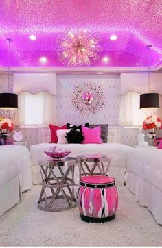 To achieve this look I think the linked products would look much better! But I love DISCO! http://www.room-33.com/circus-ottoman/ http://www.room-33.com/alistair-side-tables-set-of-2/ http://www.room-33.com/chandeliers-by-elements-5694-20h/