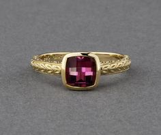Pink Maine Tourmaline Ring - 14K yellow gold - #crossjewelers