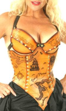 Hard leather treasure map corset.   Brute Force Leather Designs
