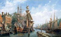 Leuvehaven, Rotterdam (1867) naar een schilderij van Petrus van der Velden