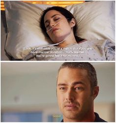 Clarke: She needs you.... You're gonna feel it for months. Severide: Good. (5x08)