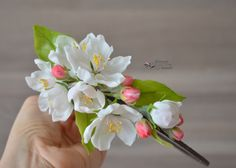 Handmade headband with apple blossom. Material: Model Air Porcelain Clay.