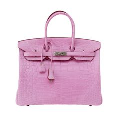 HERMES BIRKIN 35 Bag coveted 5P PINK Matte Alligator palladium Rare | From a collection of rare vintage handbags and purses at http://www.1stdibs.com/fashion/accessories/handbags-purses/