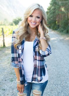 Ready or Not Plaid Top Navy - Modern Vintage Boutique