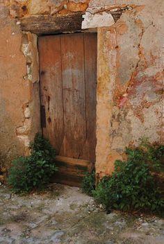 sunset colours - wooden door