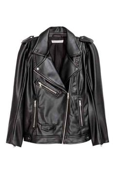 Biker jacket in imitation leather in a slightly longer style with a diagonal zip, shoulder tabs, a tab and press-stud at the sides of the hem and a zip at t Winter Mode Outfits, Winter Fashion Outfits, H&m Fashion, Timeless Fashion, Vegan Leather Jacket, Stylish Coat, Outerwear Women, Latest Fashion For Women, Jackets For Women