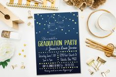 Graduation Party Invitations / Night Sky, Firefly, Fireflies / Blue, Yellow, Gold, Summer Night / Mason Jars / Digital or Printed Cards by EverburgDesignStudio on Etsy https://www.etsy.com/listing/223169968/graduation-party-invitations-night-sky