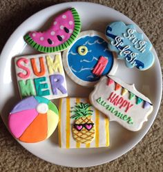 Summer Theme Cookies / One Dozen by ShopCookieCouture on Etsy No Bake Sugar Cookies, Fancy Cookies, Iced Cookies, Cut Out Cookies, Cute Cookies, Royal Icing Cookies, Cookie Frosting, Cupcake Cookies, Cupcakes