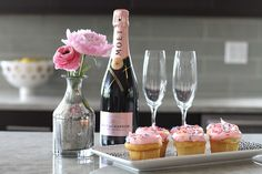 pink champagne and cupcakes