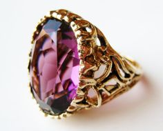 Vintage 14k Gold Plated Amethyst Art Deco by SoCalJewelBox on Etsy, $64.00