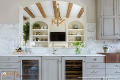 Rutt Regency Cabinetry ~ Abbey Door Design ~ Nimbus Paint w/Grey Antiqued Glaze  ~ Photo: Jessie Preza Photography ~ Design: Neena Corbin Kitchens
