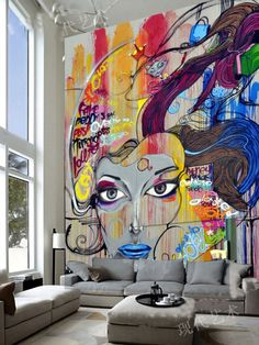 Cheap papel de parede Buy Quality de parede directly from China tv background Suppliers Large mural wallpaper color graffiti the living room TV background ... & Pop art Roy Lichtenstein inspired bedroom - red blue u0026 yellow ...