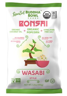 LesserEvil Buddha Bowl Bonsai Popcorn - Organic Popcorn with Organic Wasabi, Organic Coconut Oil and Himalayan Pink Salt, 5 Ounce (Pack of Spicy Popcorn, Flavored Popcorn, Organic Coconut Oil, Organic Oil, Coconut Oil Popcorn, Organic Popcorn, Himalayan Pink Salt, Buddha Bowl, Food Design
