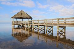 A dock on the Currituck Sound! Who's ready for some fishing?? #OBX