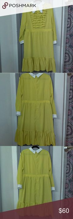 Ruffle dress with collar Retail price $130- this is a steal! Beautiful fit and flare dress with banded waist, ruffled chest and skirt, and butterfly collar detail. Excellent used condition, no stains or rips. The color is as shown- an autumn mustard yellow NOT a sunny yellow. 100% polyester. Semi sheer and lightweight.   This fits true to the Eloquii size chart and has no stretch so please check your measurements. Eloquii Dresses Long Sleeve