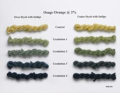 Lillstreet Textiles Blog: Natural Dye Workshop; osage orange @ 2 % over dyed and under dyed with indigo
