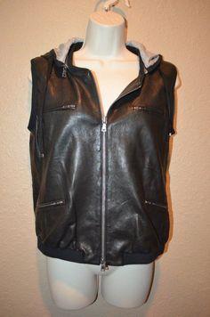 Sz 2/S Diane Von Furstenberg DVF Black Leather Hooded Vest Gray Jersey Lining #DVF #Vest