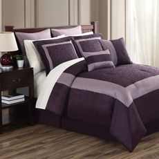 Livingston Rose Comforter Set by Chic Home Design Rose Comforter, Queen Comforter Sets, Bedding Sets, Sheets Bedding, Linen Bedding, Room In A Bag, Bed In A Bag, Embroidered Bedding, Purple Bedding