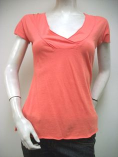 XCVI Coral V Neck Raw Rolled Edge Knit Top 1573 Sz XS 100% Cotton USA New NWOT #XCVI #KnitTop #Casual