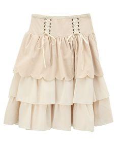Axes Femme スカラップハイウエストスカート velvet velour scallop skirt, creme color version
