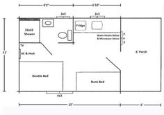 """One Room Park Model Cabin 11 x 15 with 6"""" Porch [165 sq. ft.] Sleeps 4, Full Bath, Kitchen"""